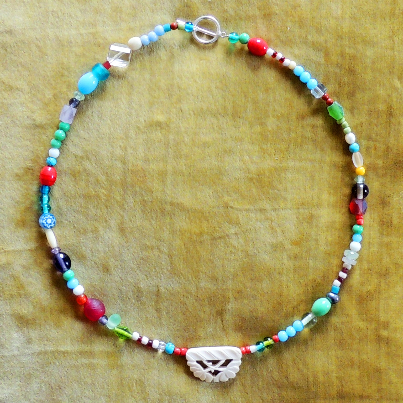 Gifts Beaded Necklace With Carved Bone Bead Kali Stileman Publishing